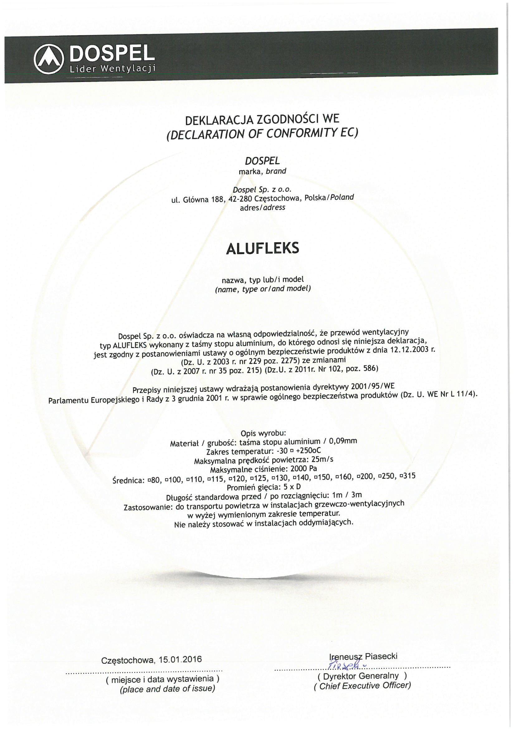 Przewody wentylacyjne, alufleks, certyfikat, deklaracja zgodności