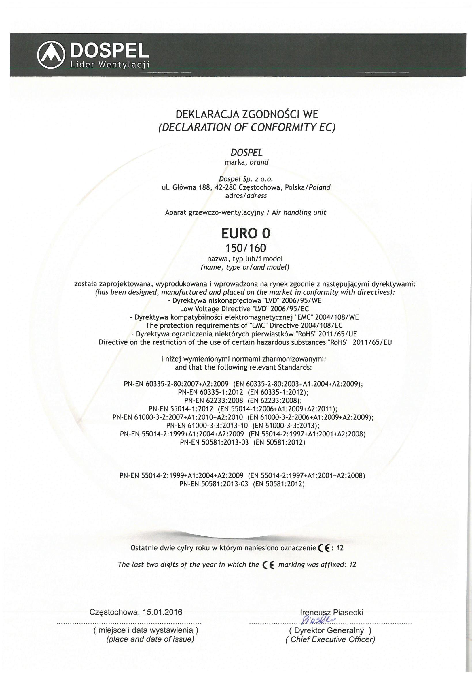 Wentylator domowy, EURO 0, certyfikat, deklaracja zgodności, producent wentylatorów, Dospel
