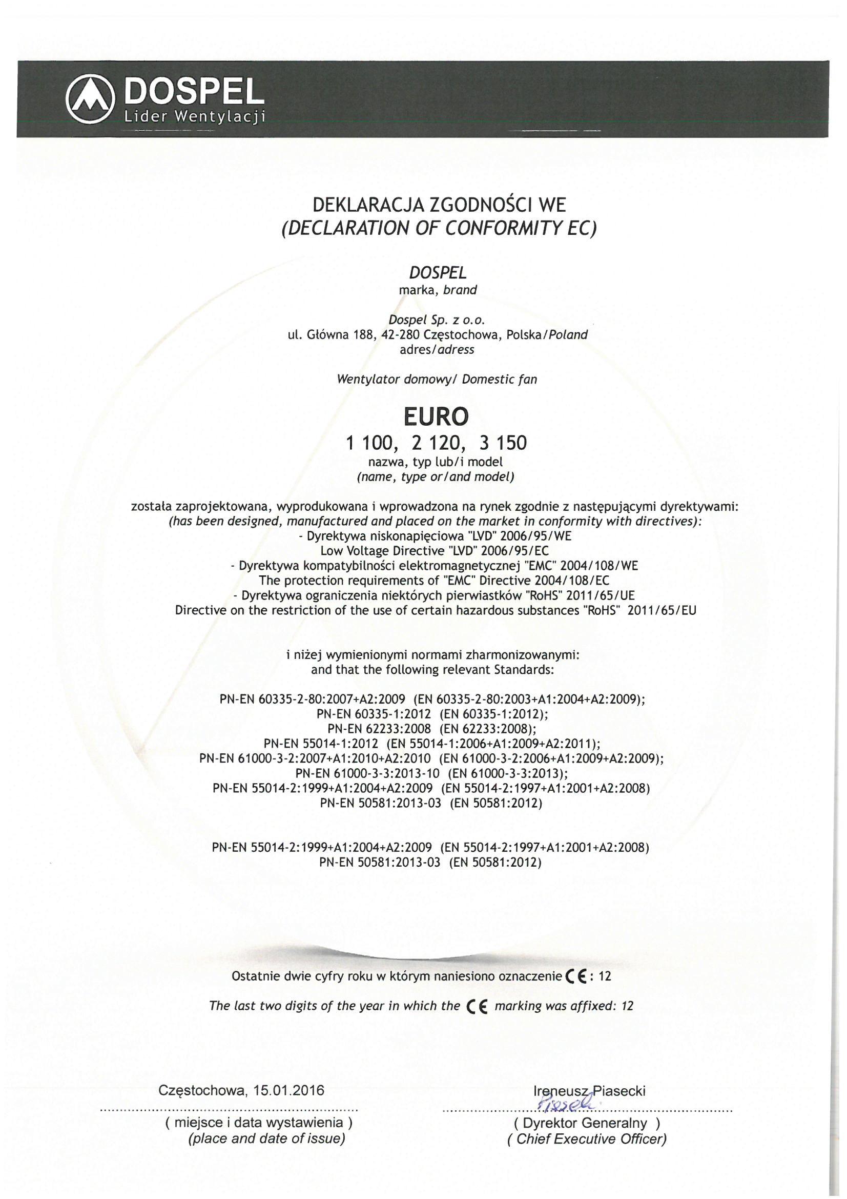 Wentylator domowy, EURO 1, 2, 3, certyfikat, deklaracja zgodności, producent wentylatorów, Dospel