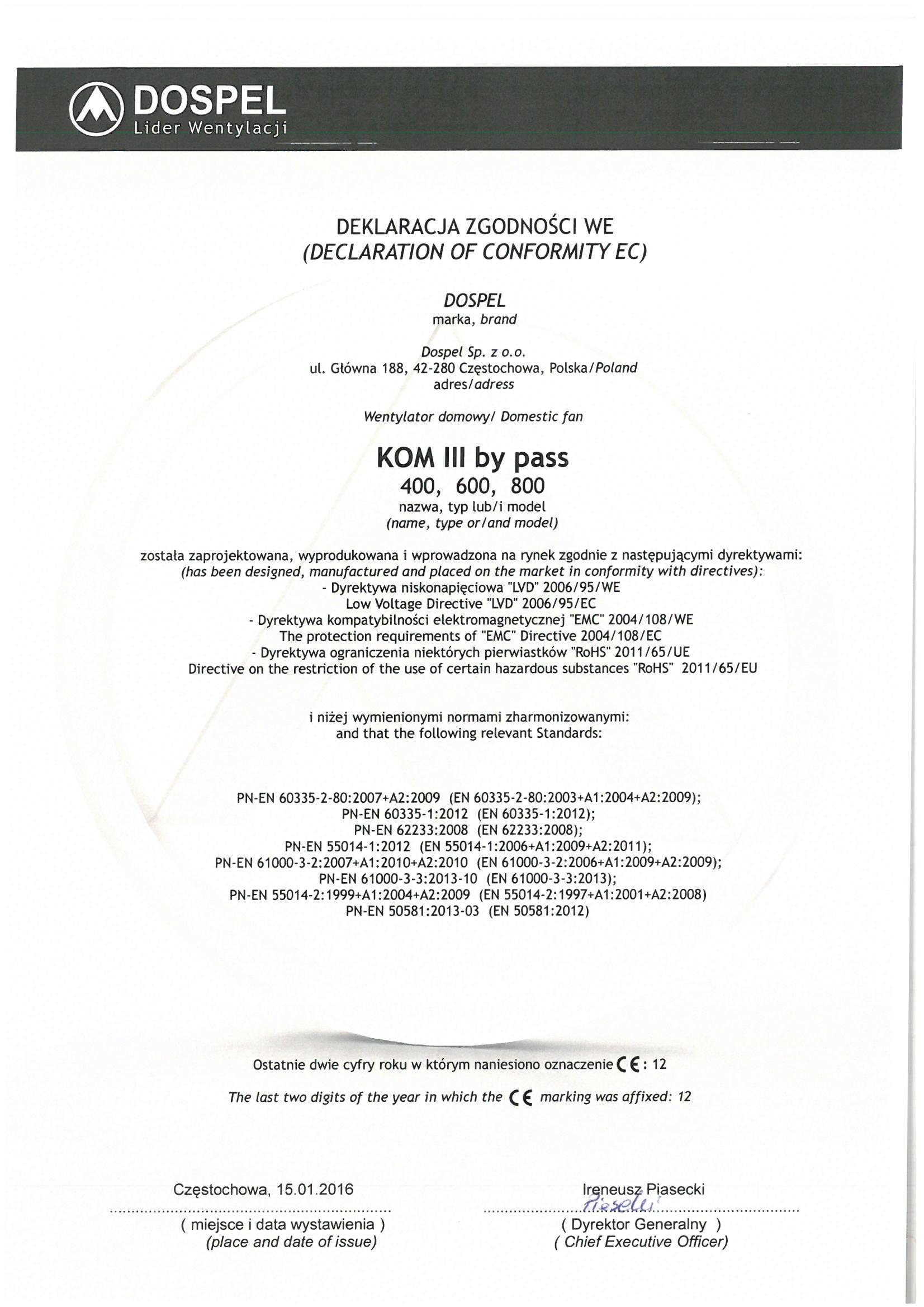 Wentylatory przemysłowe kominowe, KOM III, certyfikat, deklaracja zgodności, producent wentylatorów, Dospel