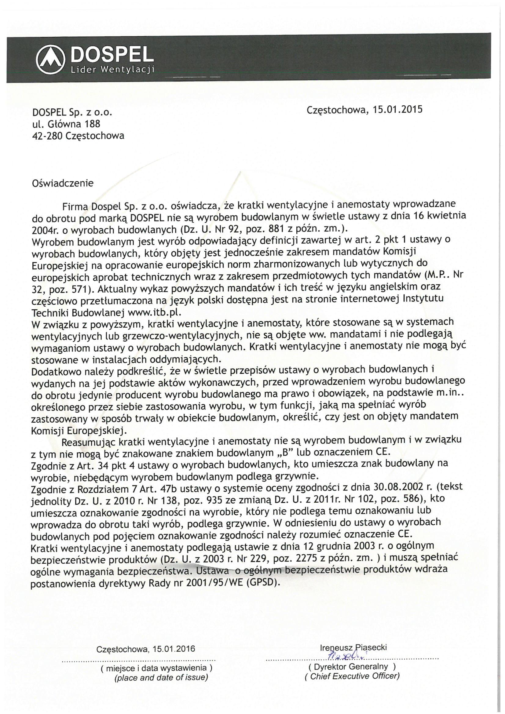 Kratki wentylacyjne, certyfikat, oświadczenie, deklaracja zgodności, producent wentylatorów, Dospel