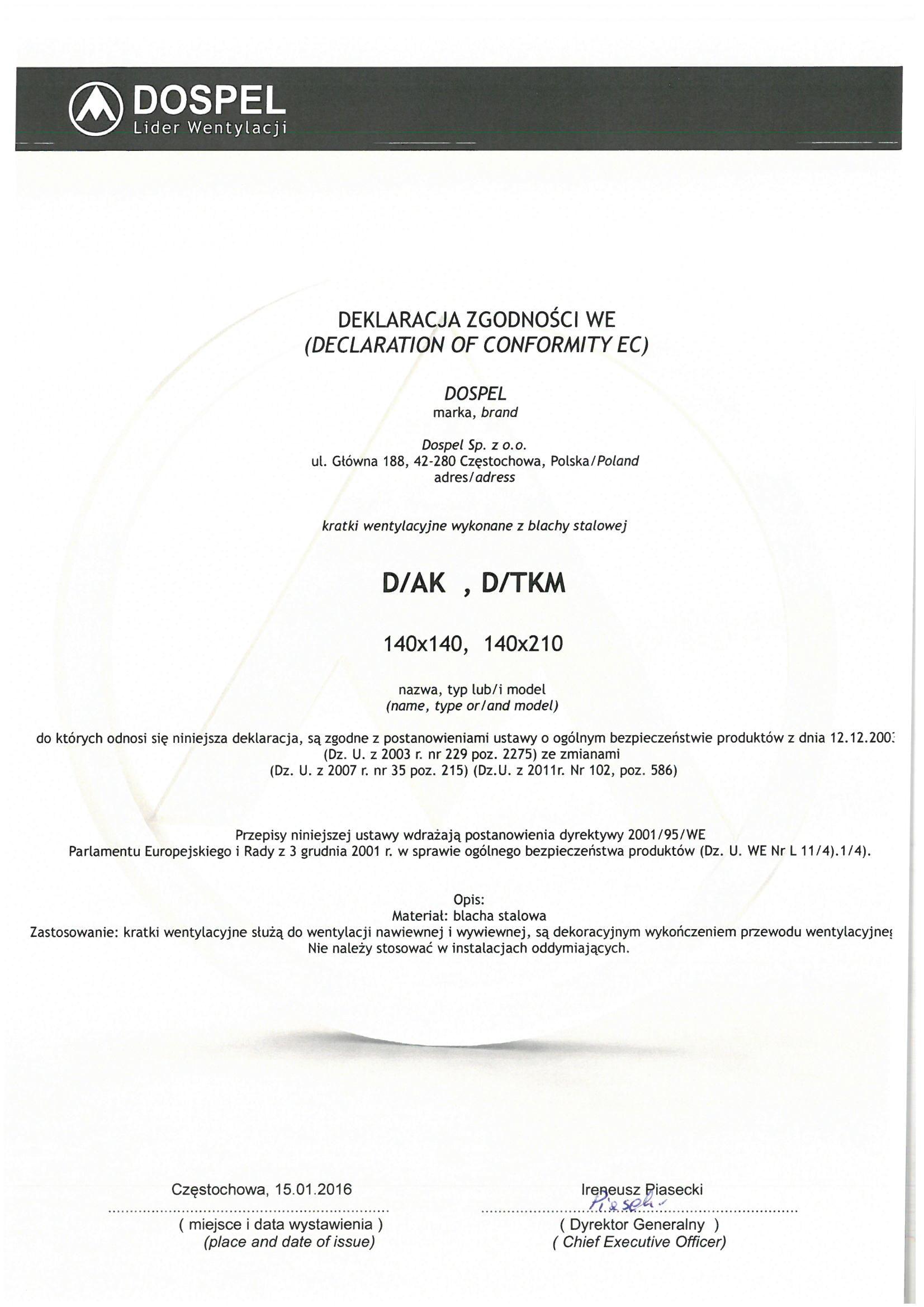 Kratka wentylacyjna stalowa D/AK D/TKM, certyfikat, deklaracja zgodności, producent wentylatorów, Dospel