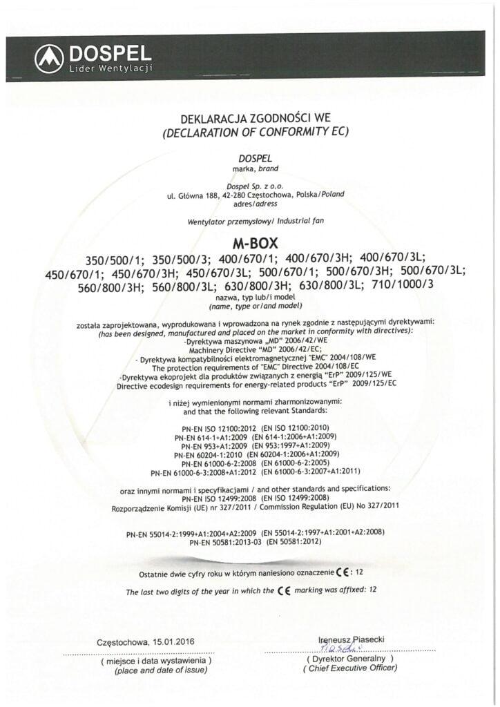 Wentylator kanałowy, M-BOX, certyfikat, deklaracja zgodności, producent wentylatorów, Dospel