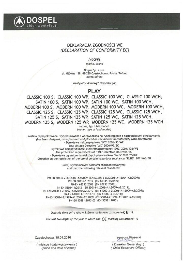 Wentylator domowy, ścienny, PLAY, certyfikat, deklaracja zgodności, producent wentylatorów, Dospel