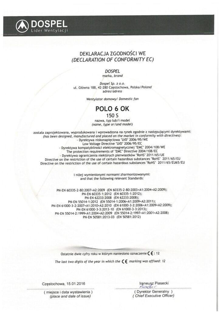 Wentylator domowy, ścienny, POLO 6 OK, certyfikat, deklaracja zgodności, producent wentylatorów, Dospel
