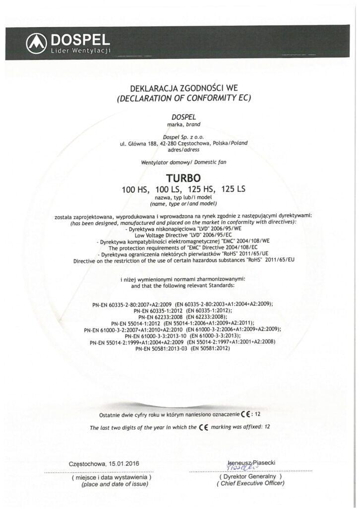 Wentylator kanałowy, TURBO, certyfikat, deklaracja zgodności, producent wentylatorów, Dospel
