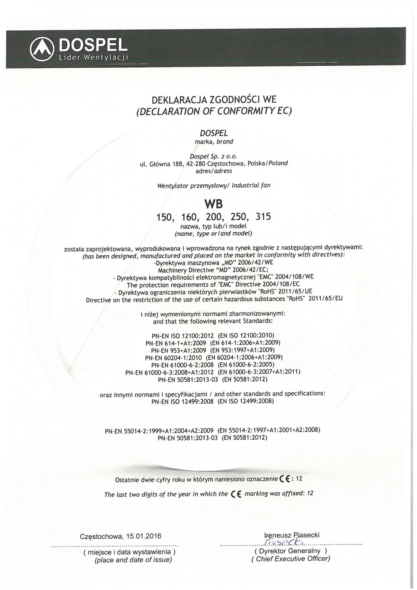 Wentylator przemysłowy kanałowy, WB, certyfikat, deklaracja zgodności, producent wentylatorów, Dospel