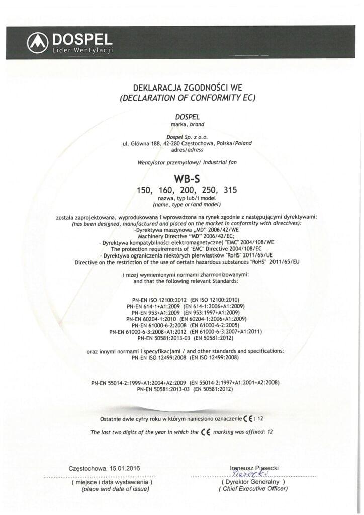 Wentylator przemysłowy, ścienny, WB-S, certyfikat, deklaracja zgodności, producent wentylatorów, Dospel