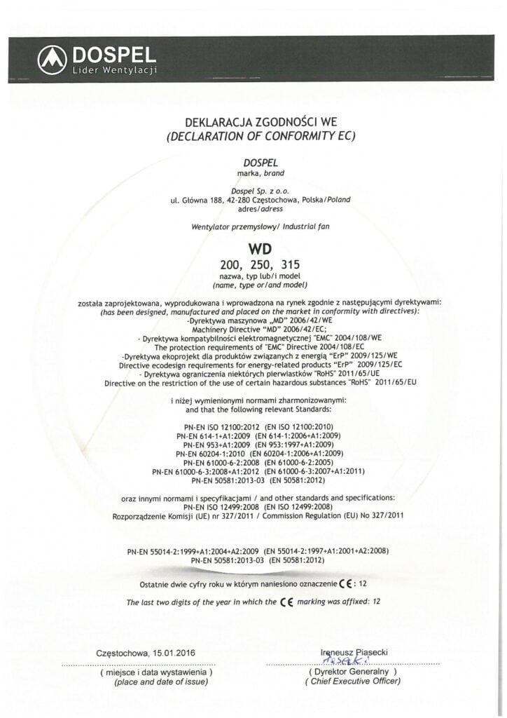 Wentylator dachowy, WD, certyfikat, deklaracja zgodności, producent wentylatorów, Dospel
