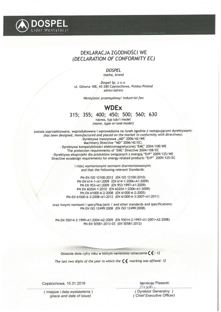 Wentylatory przemysłowe, dachowe, WDEx, certyfikat, deklaracja zgodności, producent wentylatorów, Dospel