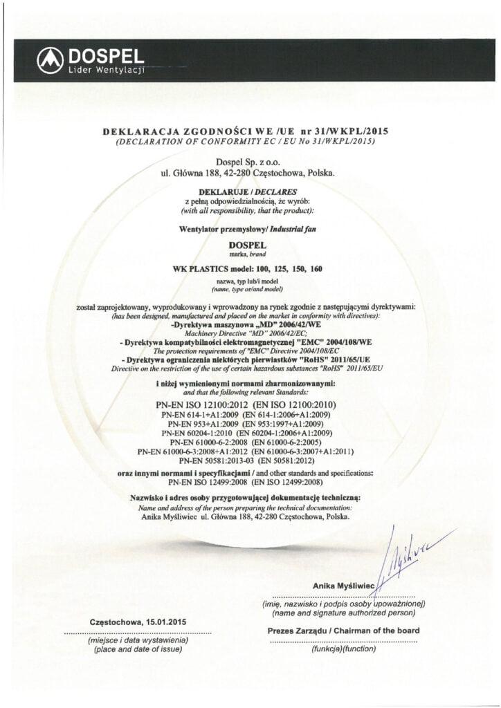 Wentylator przemysłowy kanałowy, WK Plastics, certyfikat, deklaracja zgodności, producent wentylatorów, Dospel