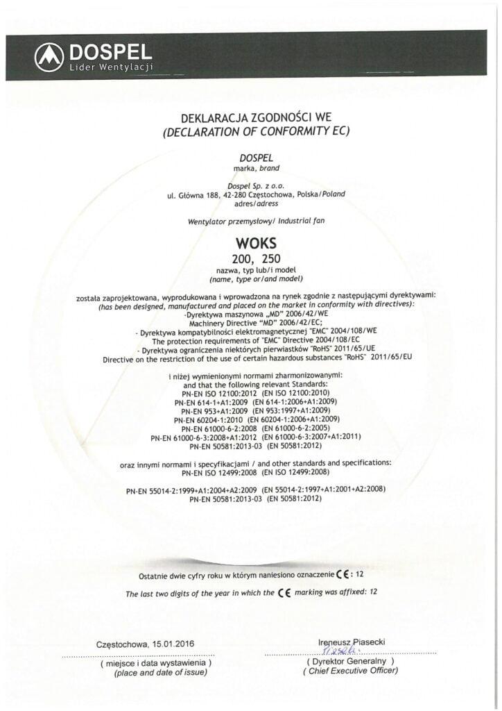 Wentylator przemysłowe, ścienne, WOKS, certyfikat, deklaracja zgodności, producent wentylatorów, Dospel